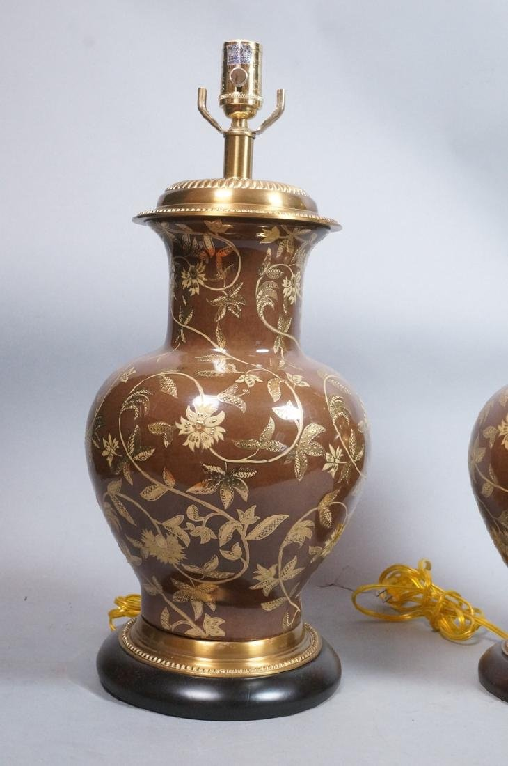 Pr FREDERICK COOPER Brown Urn Form Table Lamps. A - 2