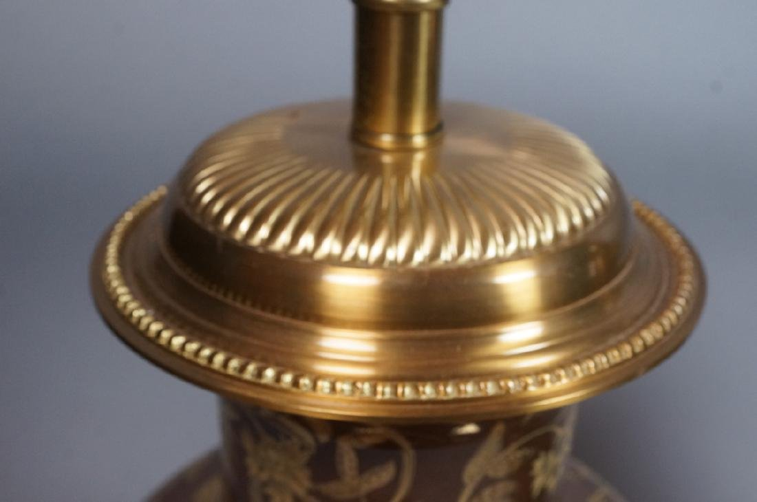 Pr FREDERICK COOPER Brown Urn Form Table Lamps. A - 3