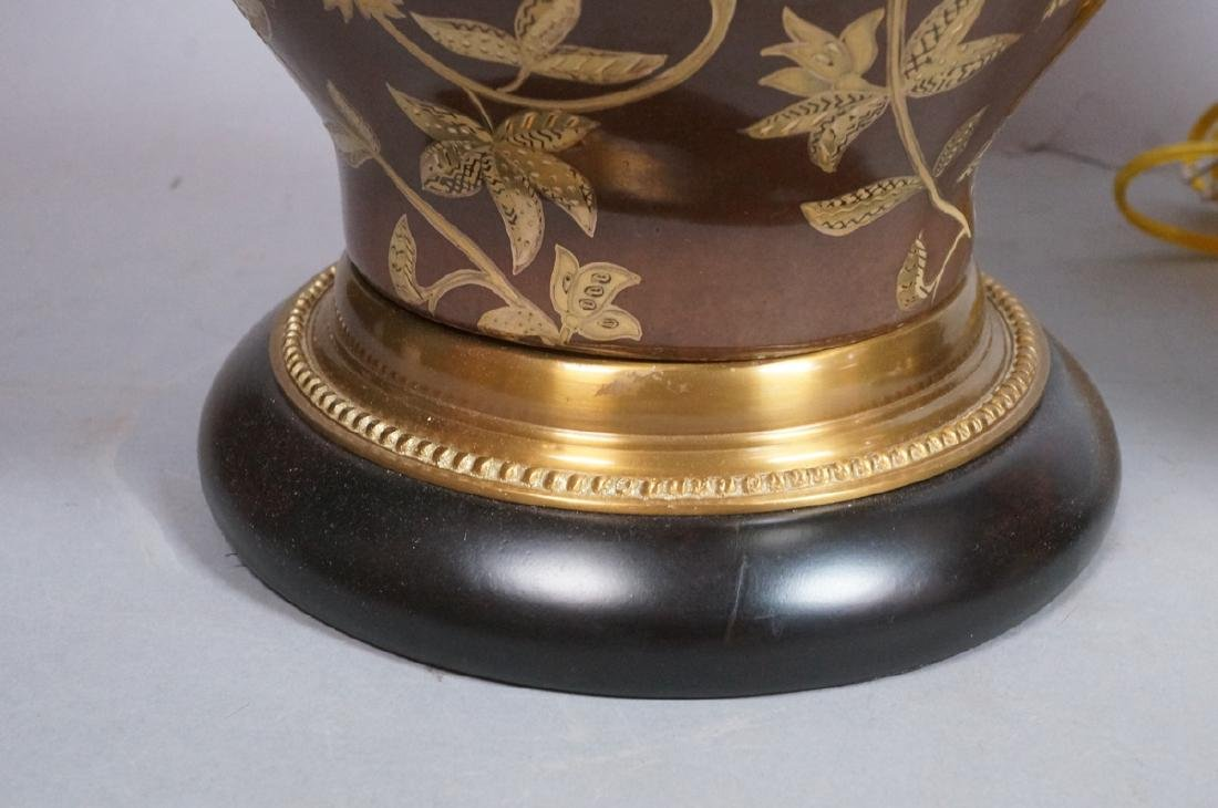 Pr FREDERICK COOPER Brown Urn Form Table Lamps. A - 5