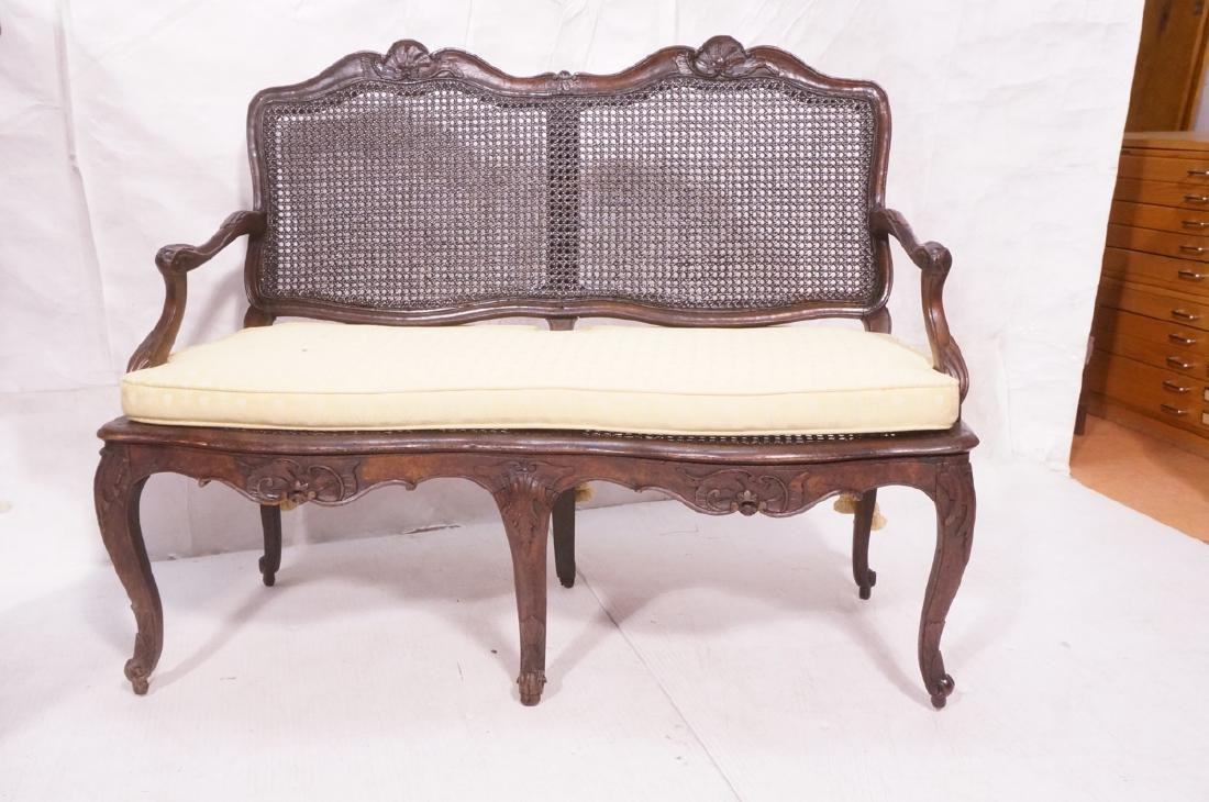 French Style Love seat Settee. Carved wood frame - 2