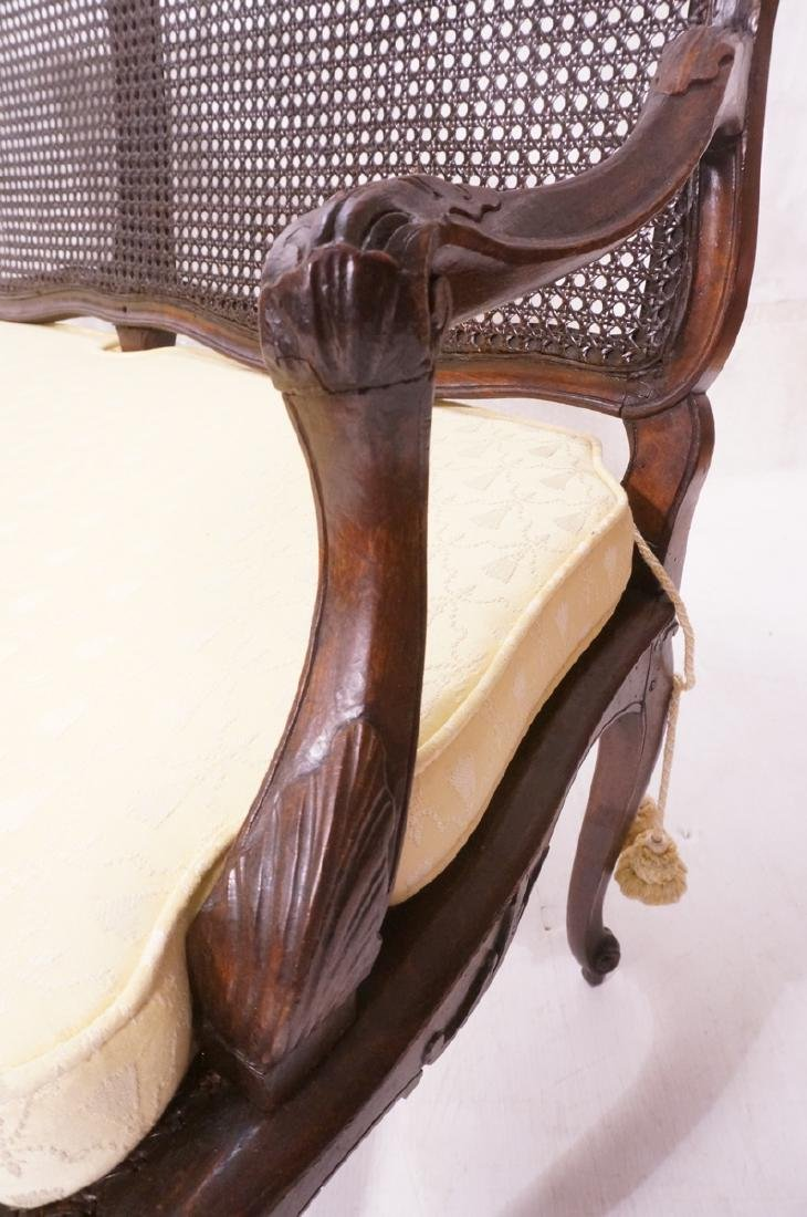 French Style Love seat Settee. Carved wood frame - 8