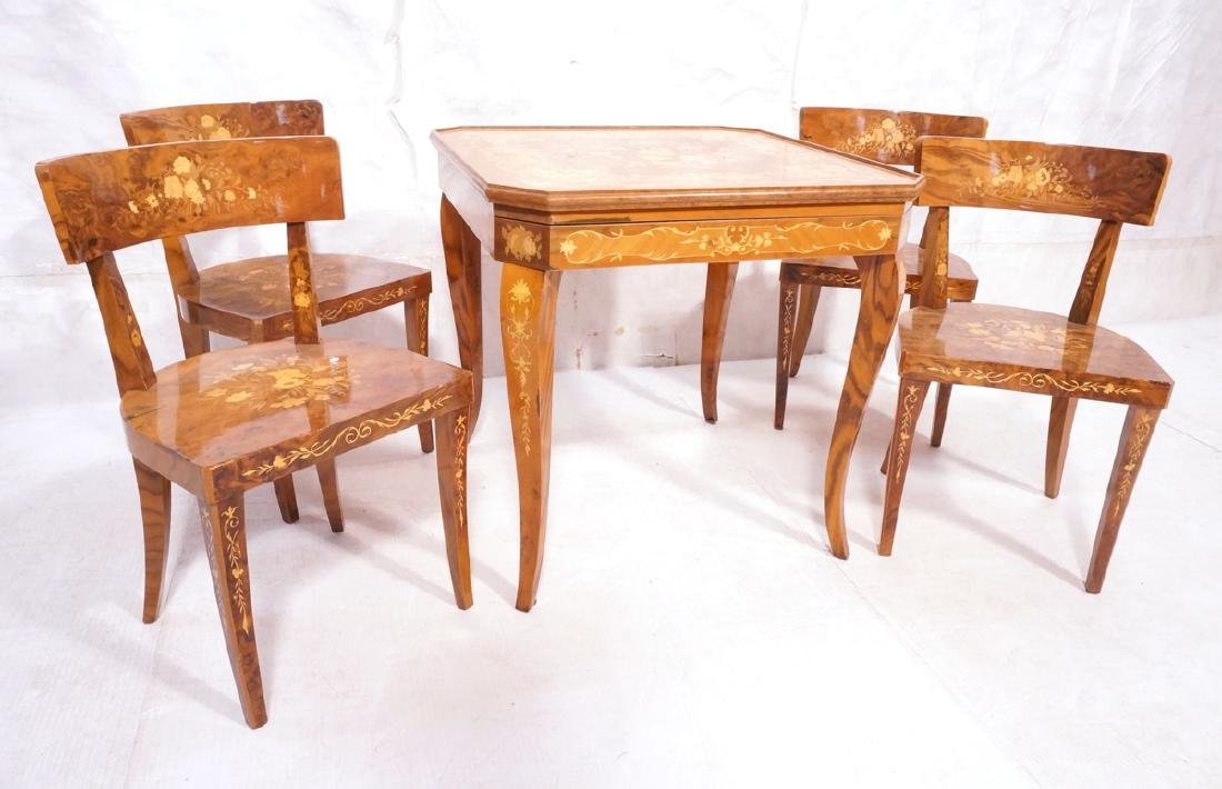 5pc Inlaid Game Table w 4 Chairs. Floral & scroll