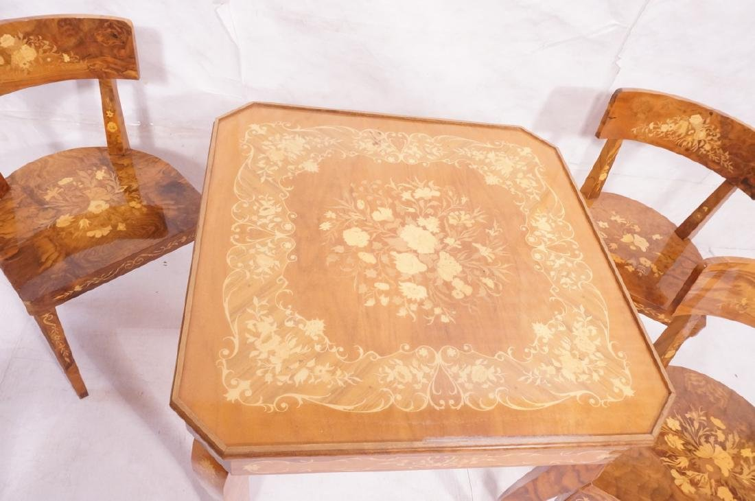 5pc Inlaid Game Table w 4 Chairs. Floral & scroll - 2