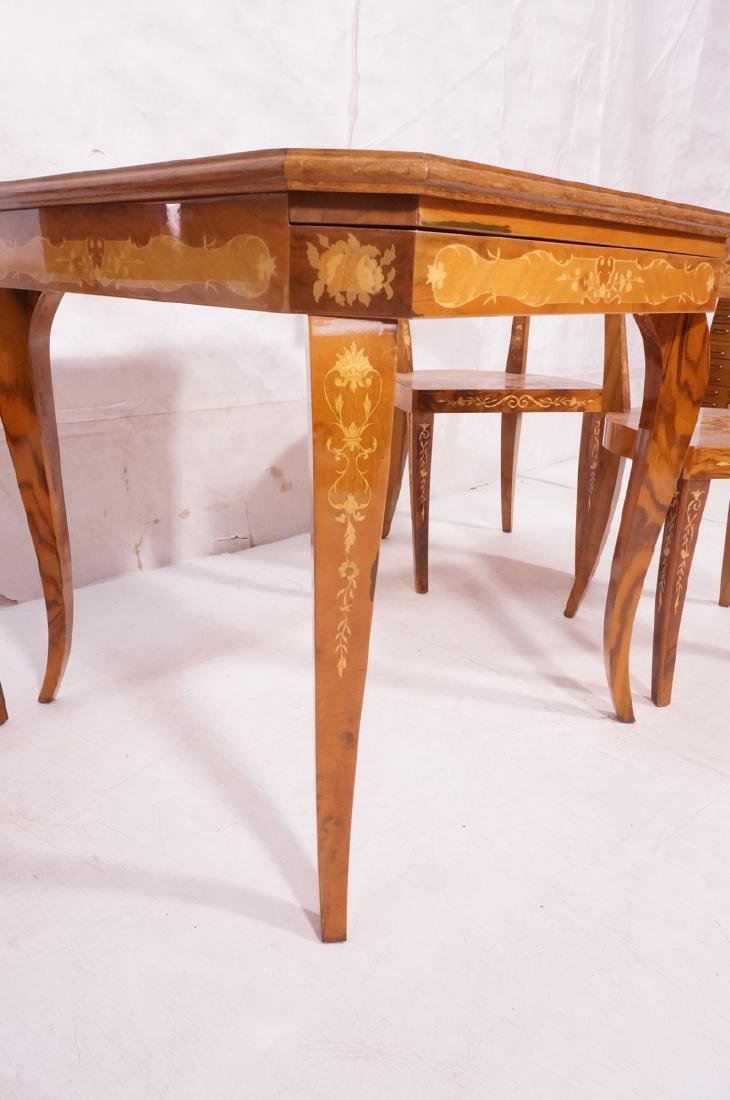 5pc Inlaid Game Table w 4 Chairs. Floral & scroll - 4