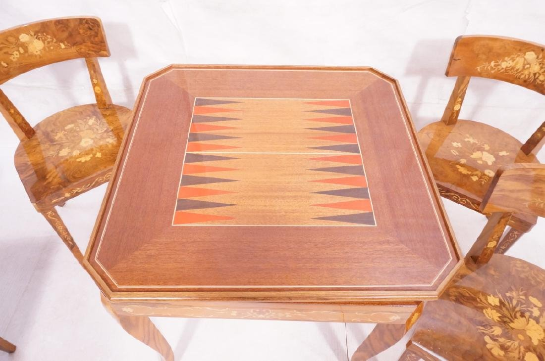 5pc Inlaid Game Table w 4 Chairs. Floral & scroll - 5
