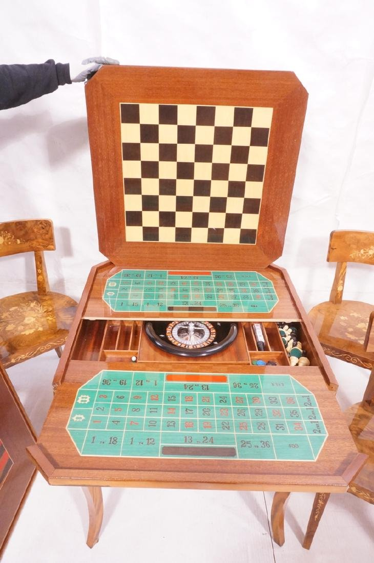 5pc Inlaid Game Table w 4 Chairs. Floral & scroll - 6