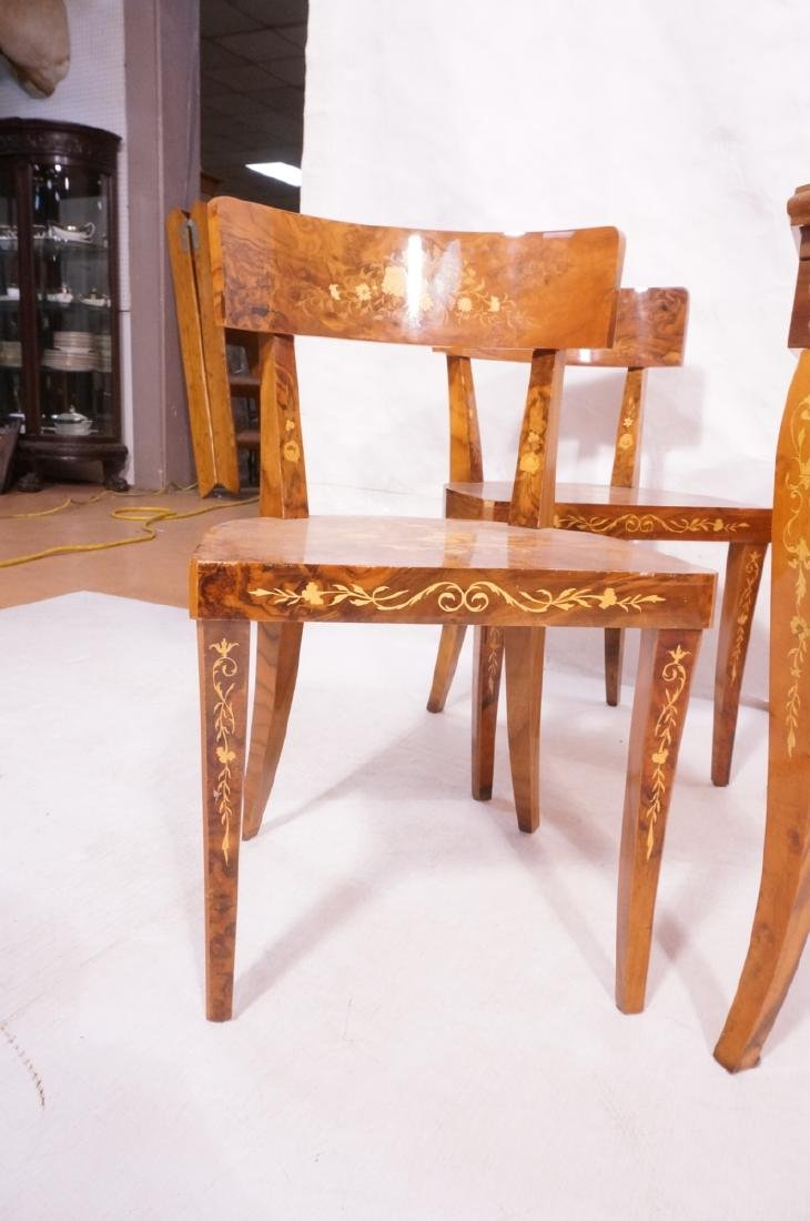5pc Inlaid Game Table w 4 Chairs. Floral & scroll - 8