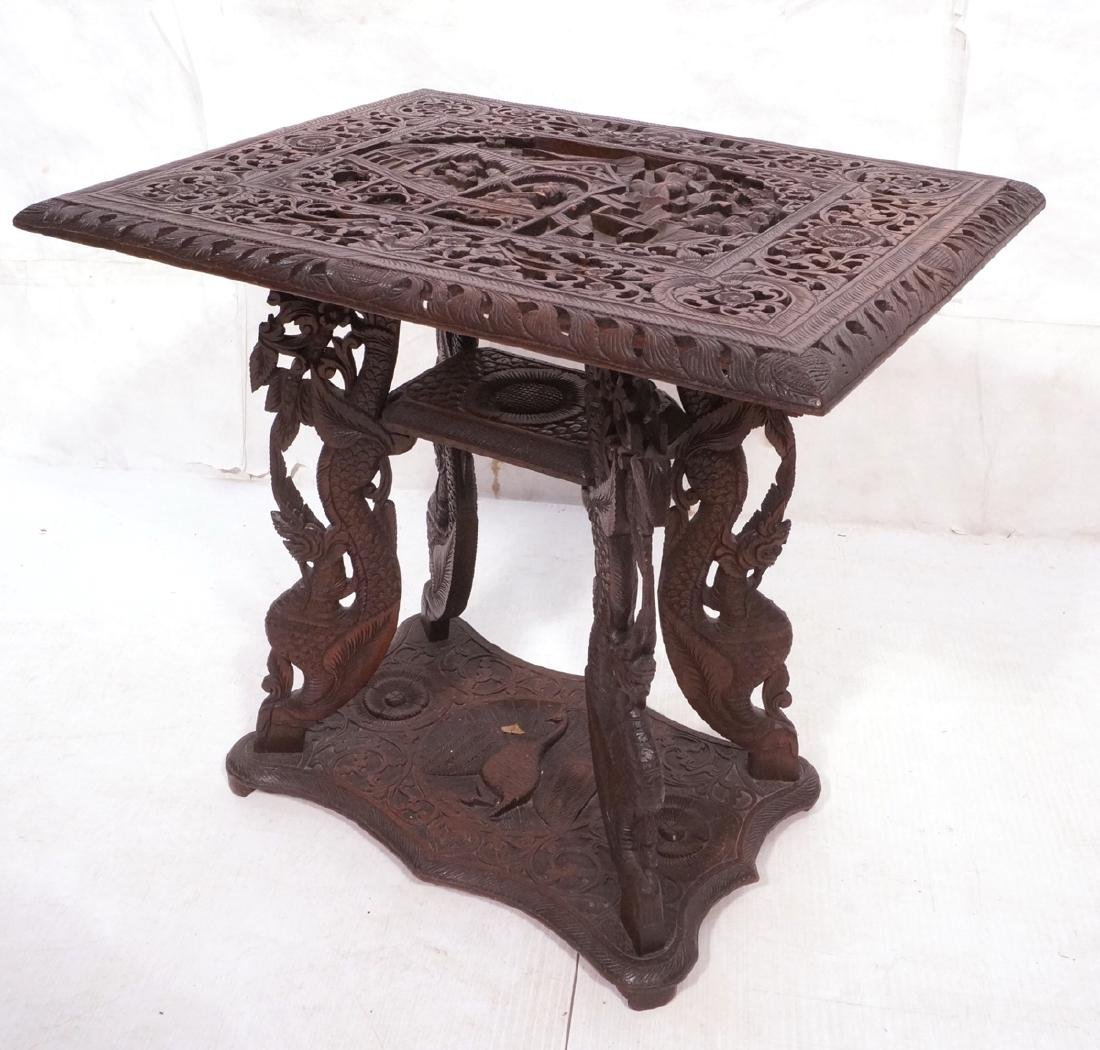 Carved Wood East Indian Side Table. Deep relief c