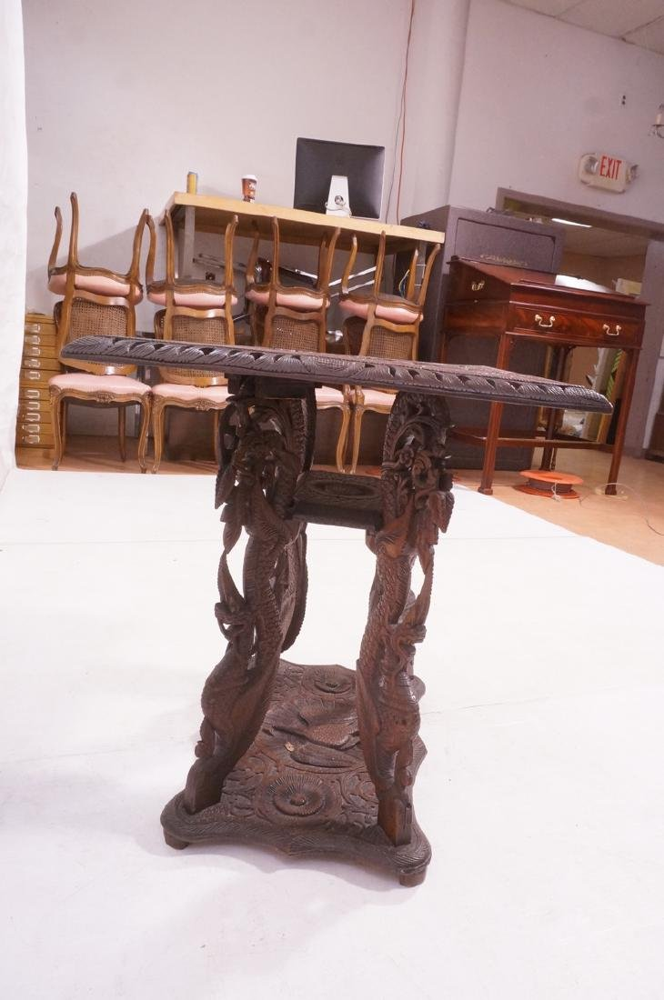 Carved Wood East Indian Side Table. Deep relief c - 3