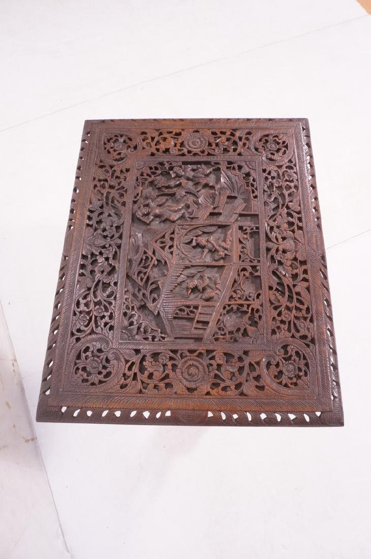 Carved Wood East Indian Side Table. Deep relief c - 4