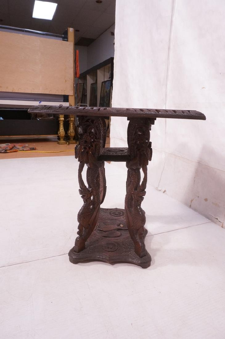 Carved Wood East Indian Side Table. Deep relief c - 5