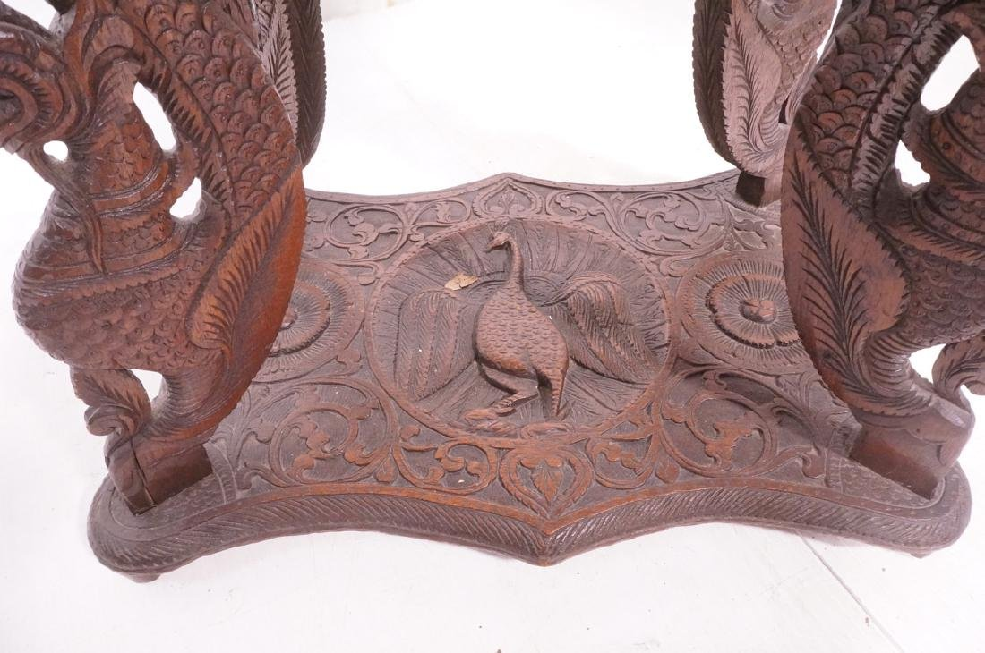Carved Wood East Indian Side Table. Deep relief c - 7