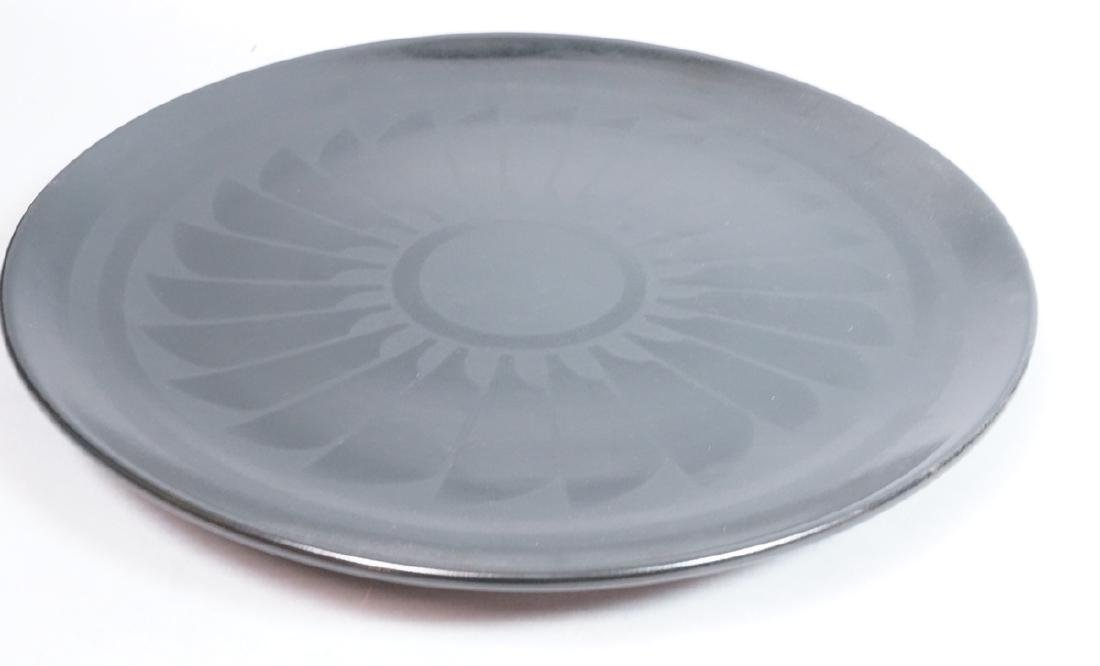 American Indian Style Black Ceramic Charger. Deco