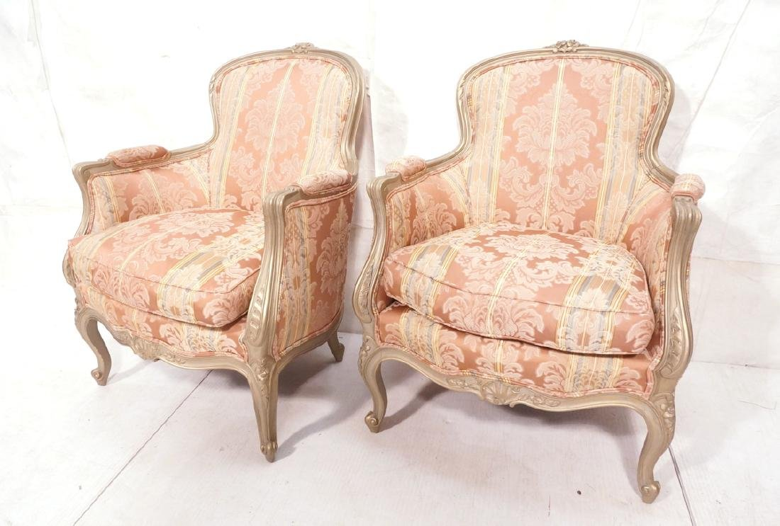 Pr Carved French Upholstered Chairs. Fauteuils. C