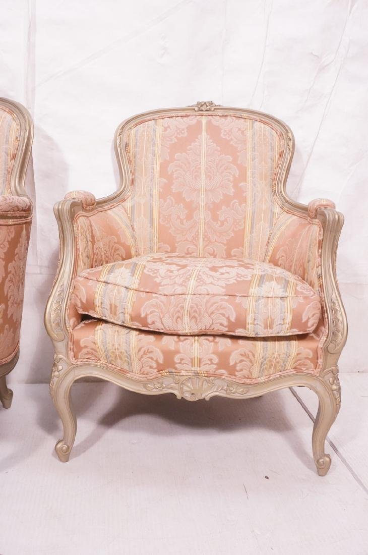 Pr Carved French Upholstered Chairs. Fauteuils. C - 2