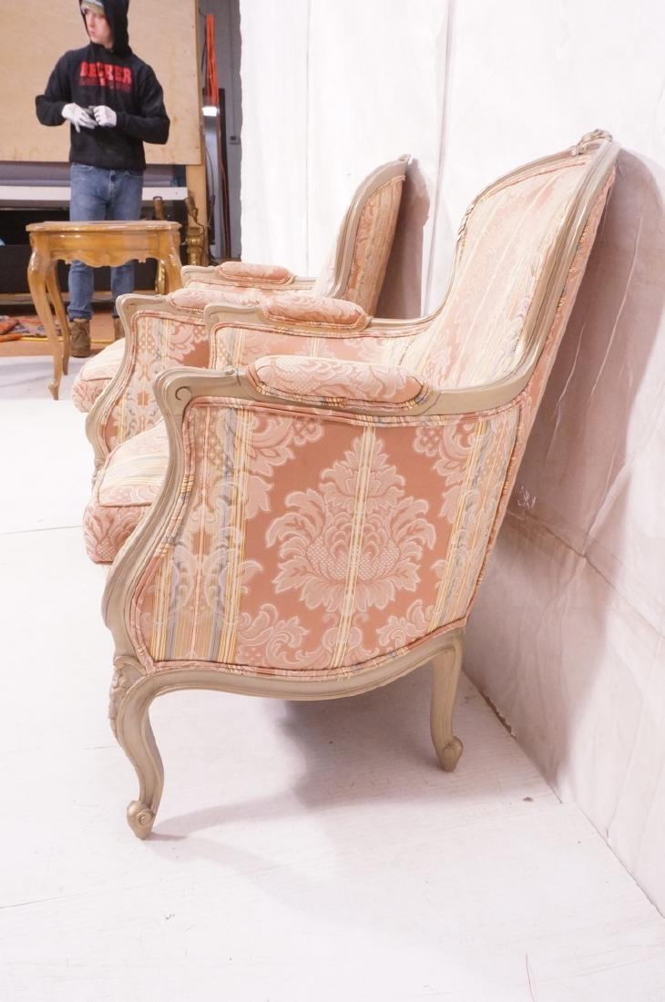 Pr Carved French Upholstered Chairs. Fauteuils. C - 3