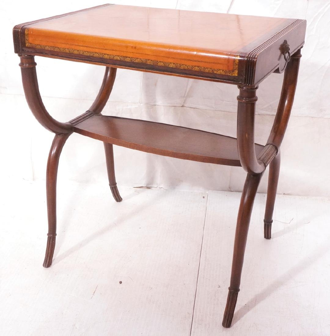 Antique Leather Top Side Table. Brown leather wit