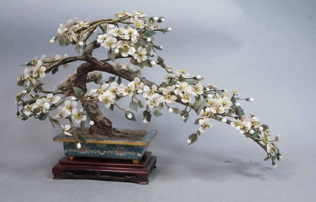 Faux Bonsai Cherry Blossom Sculpture. Cloisonne e