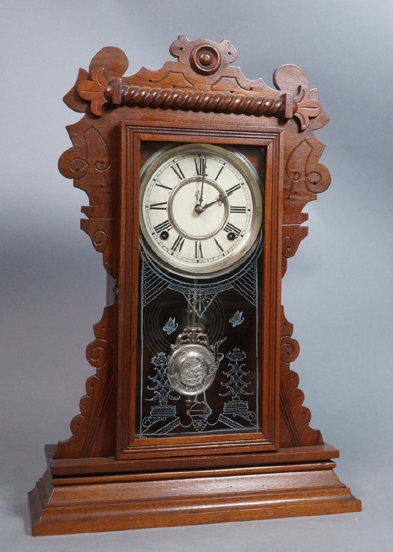 Victorian Gingerbread Mantle Clock. Carved walnut