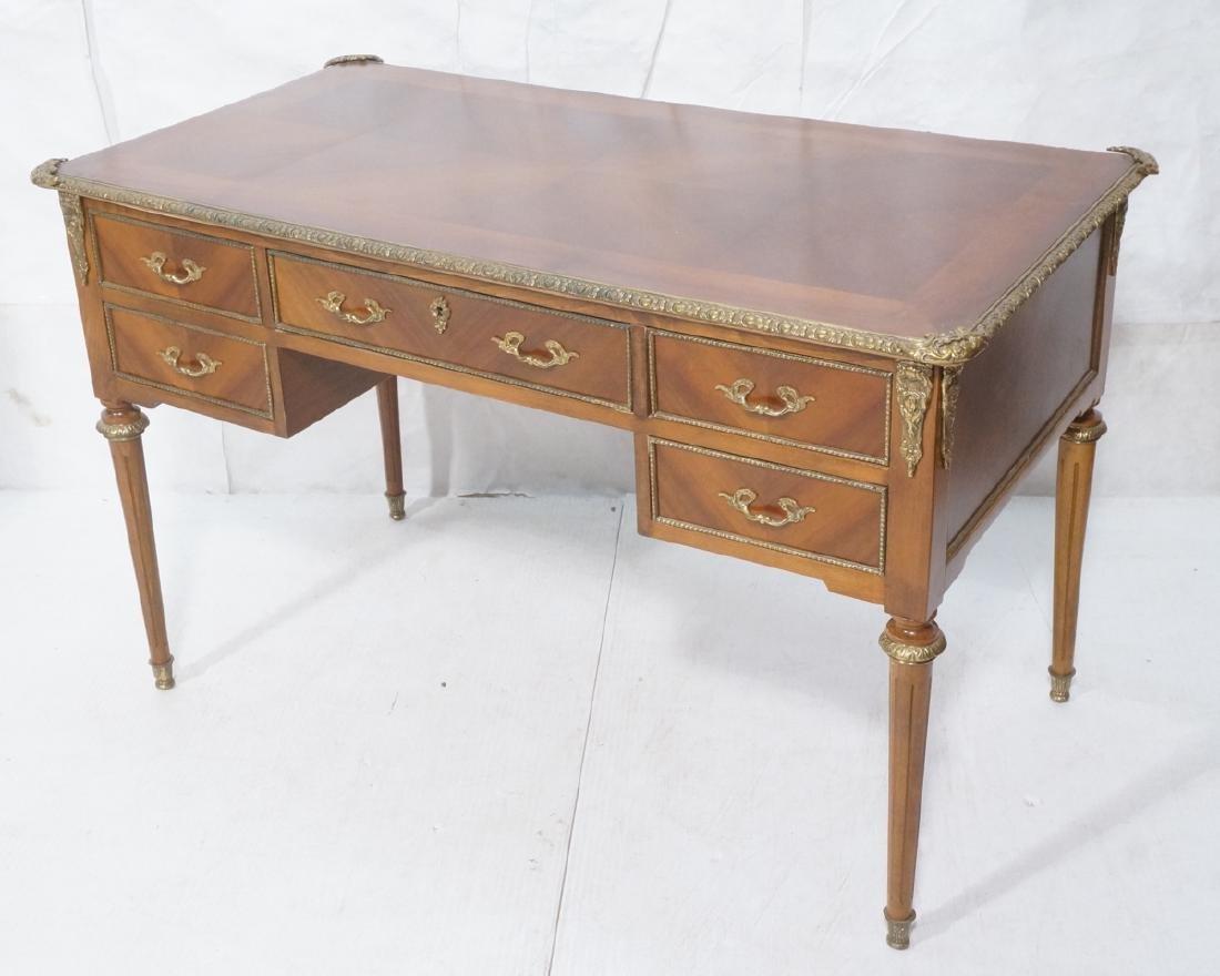 French Style Desk. Decorative bronze edge trim &