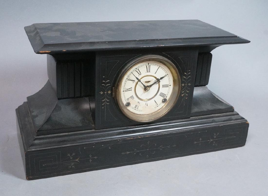 Victorian Lacquered Wood Mantle Clock. Architectu