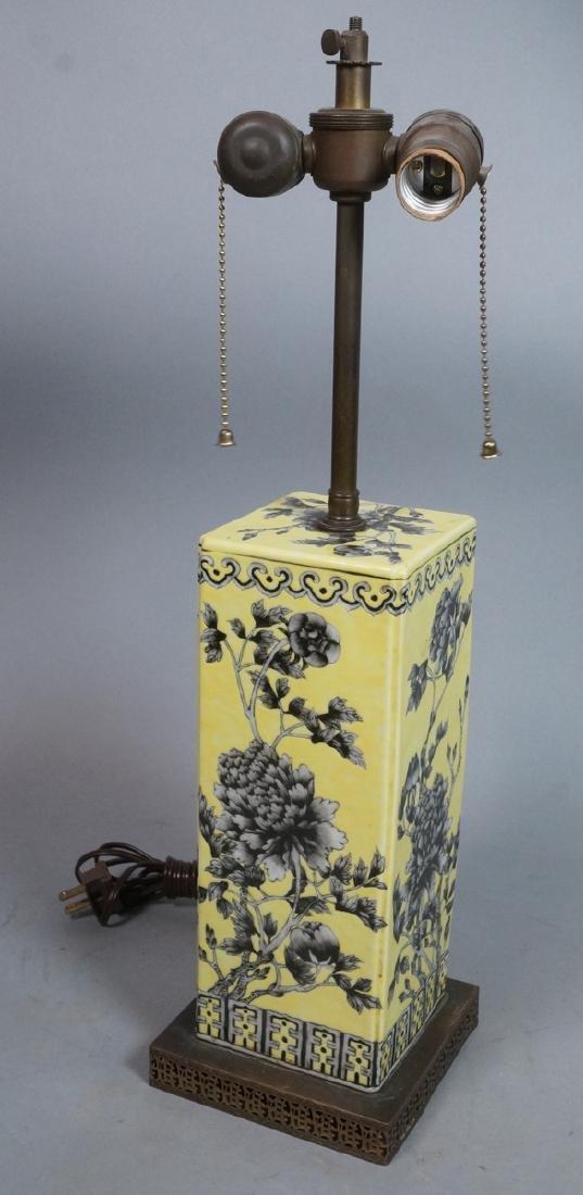 Asian Yellow Column Porcelain Table Lamp. Glazed