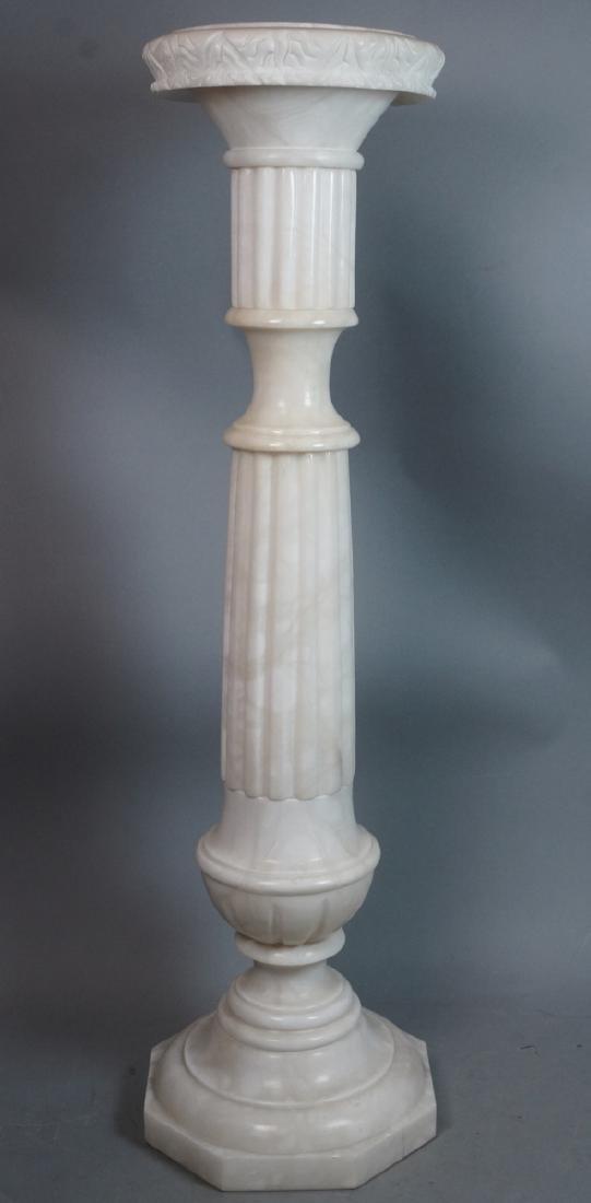 Carved Alabaster Display Pedestal. Fluted column
