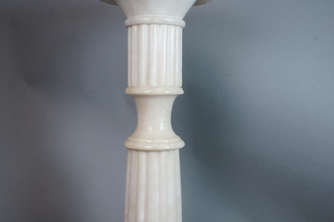 Carved Alabaster Display Pedestal. Fluted column - 5