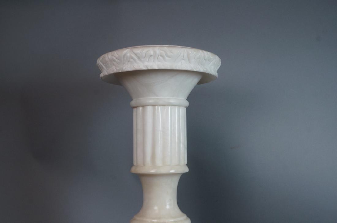 Carved Alabaster Display Pedestal. Fluted column - 6