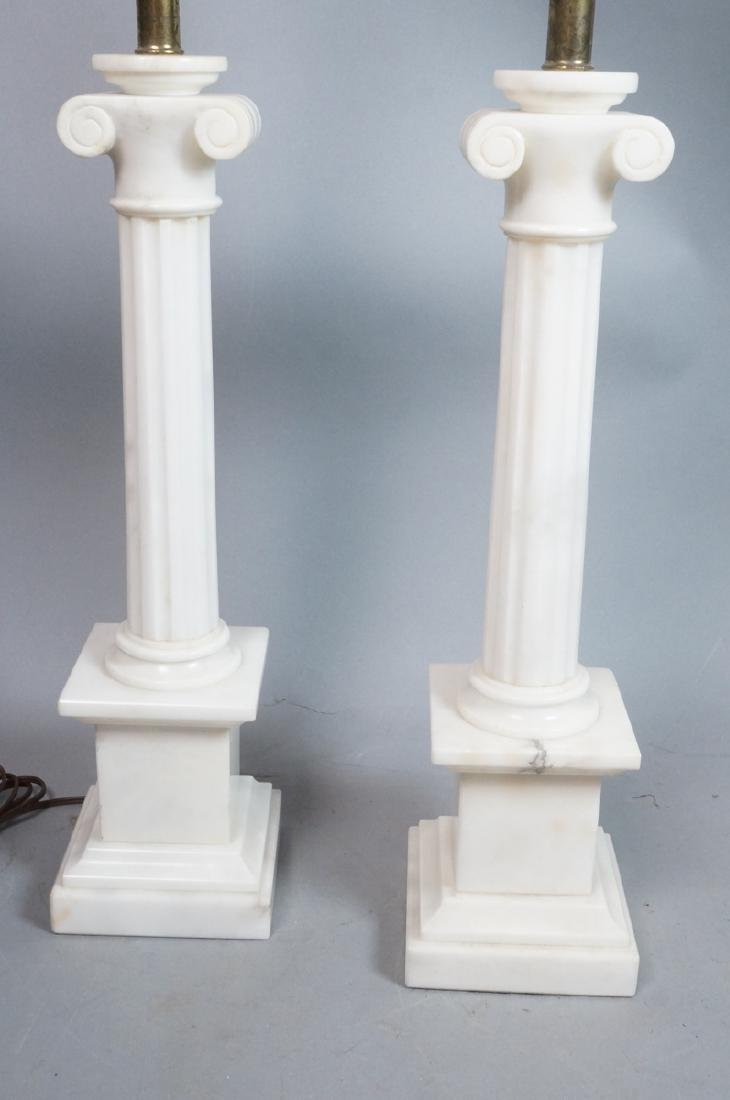 Pr Marble Architectural Column Lamps on stepped b
