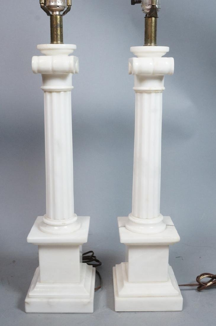 Pr Marble Architectural Column Lamps on stepped b - 2