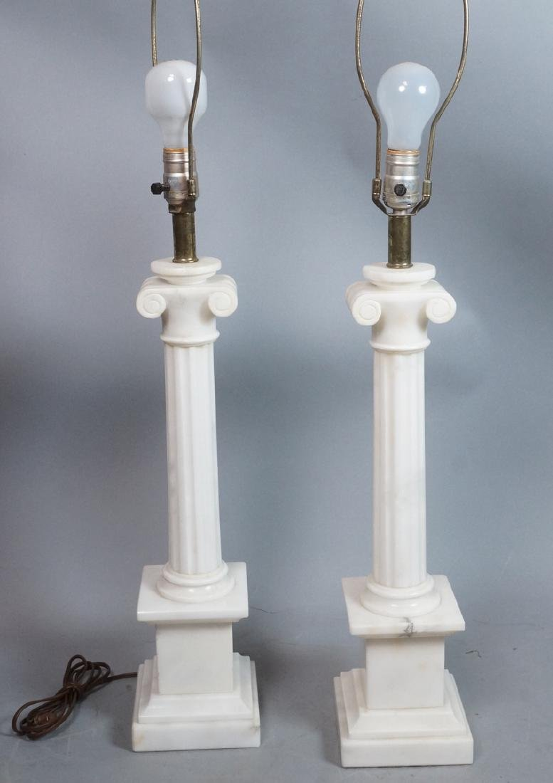 Pr Marble Architectural Column Lamps on stepped b - 3