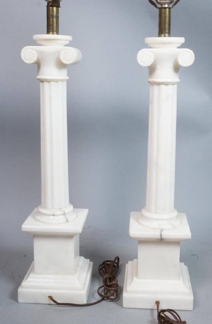 Pr Marble Architectural Column Lamps on stepped b - 4