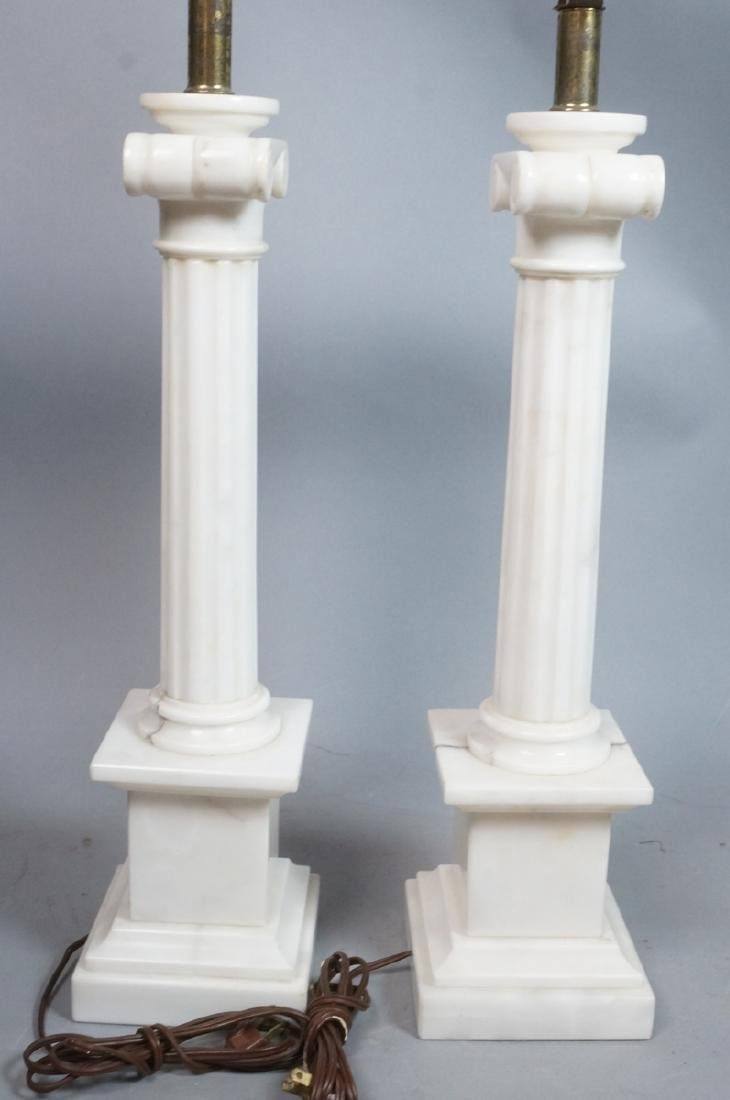 Pr Marble Architectural Column Lamps on stepped b - 5