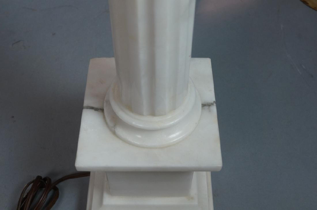 Pr Marble Architectural Column Lamps on stepped b - 6