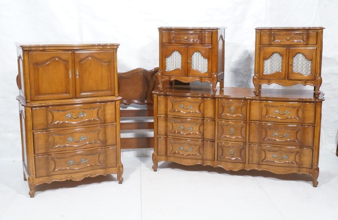 6pc French Provincial Bedroom Set. 2 night stands