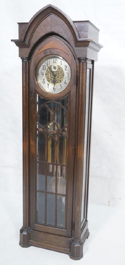 Mahogany Gothic Style Tall Case Clock. Wood fretw