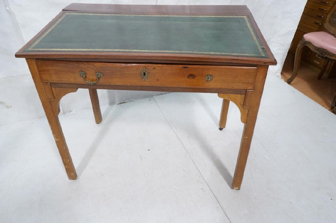 Antique Leather Top Desk. Single drawer writing d - 7
