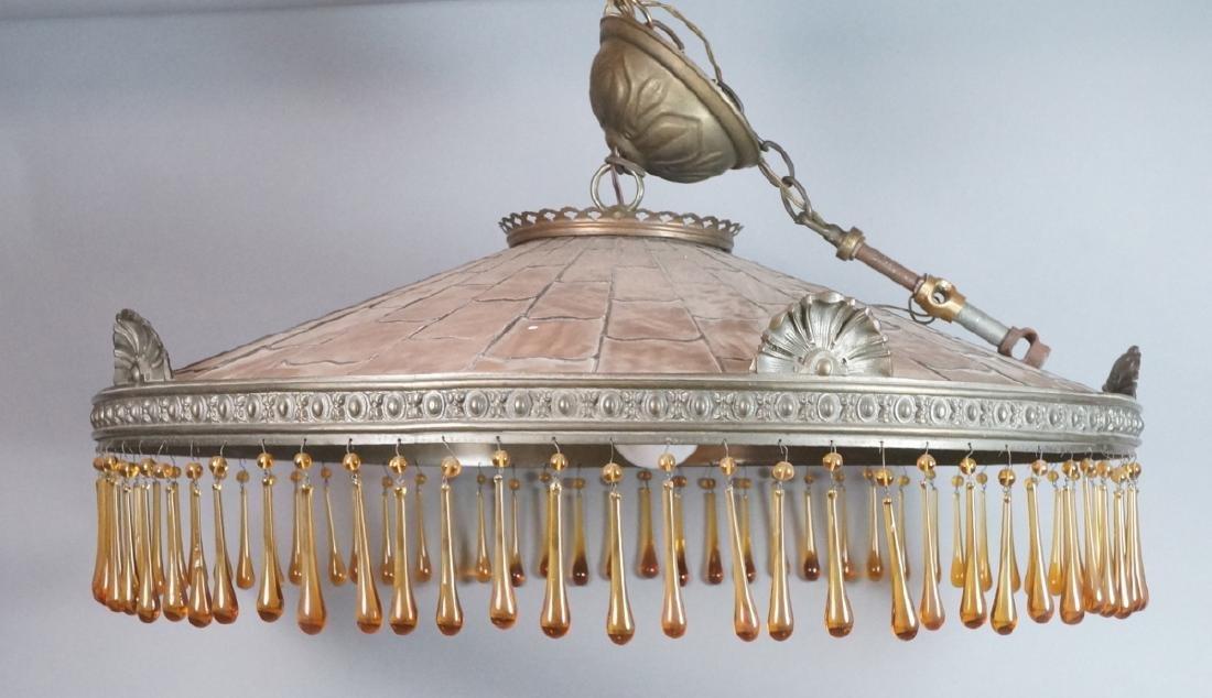 Bronze & Slag Glass Lg Shallow Dome Chandelier. H