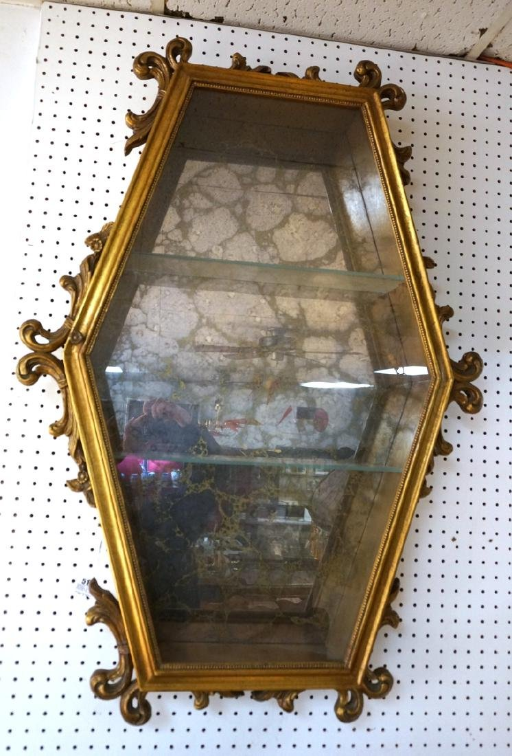 Hexagonal Gilt Wood Framed Display Cabinet. Antiq