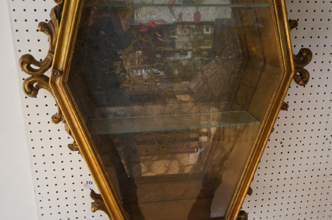 Hexagonal Gilt Wood Framed Display Cabinet. Antiq - 5