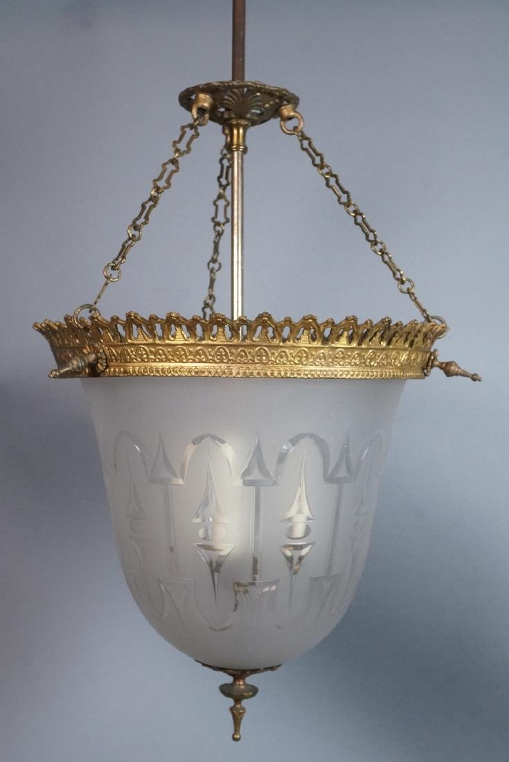Antique Etched Glass Bell Form Hanging Chandelier