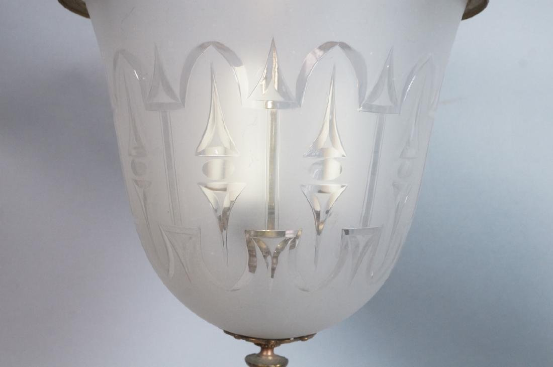Antique Etched Glass Bell Form Hanging Chandelier - 4