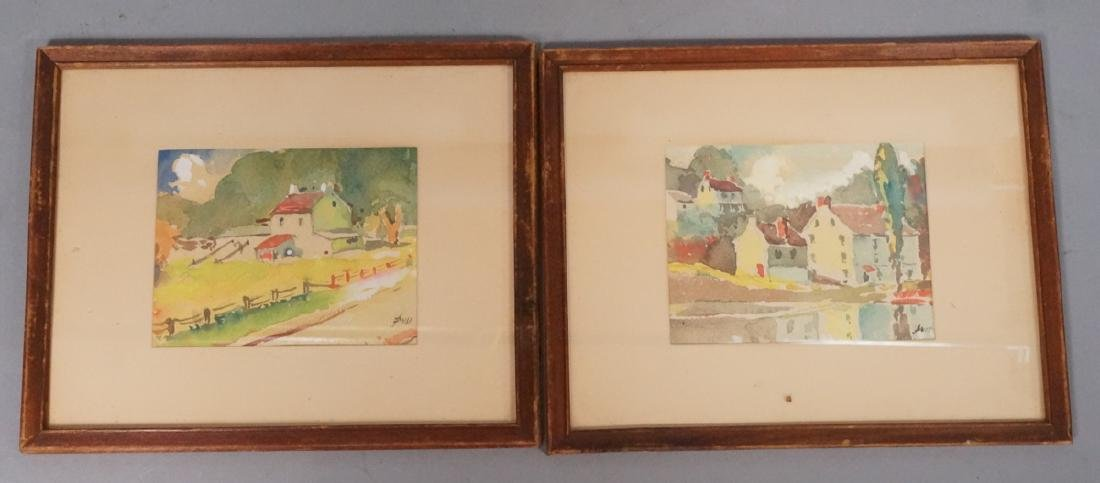 2pc JOHN DULL Watercolors. PA landscapes with red