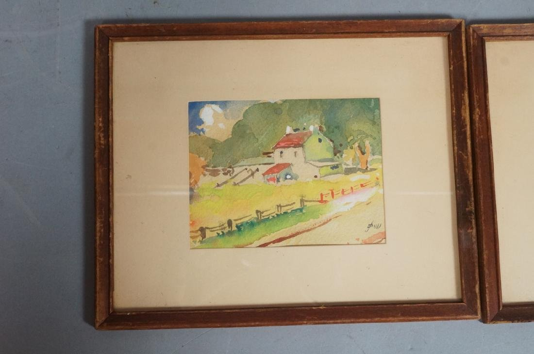 2pc JOHN DULL Watercolors. PA landscapes with red - 2