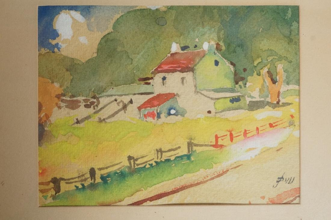 2pc JOHN DULL Watercolors. PA landscapes with red - 3