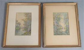 2pc RAPHAEL SENSEMAN Watercolor Landscape Both w
