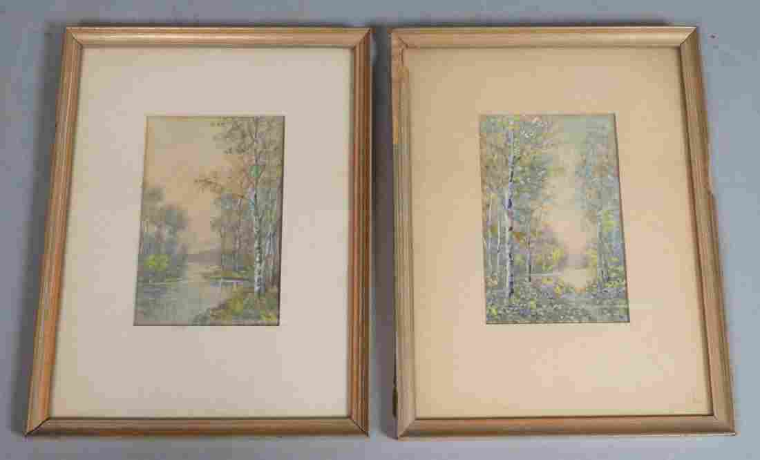 2pc RAPHAEL SENSEMAN Watercolor Landscape. Both w