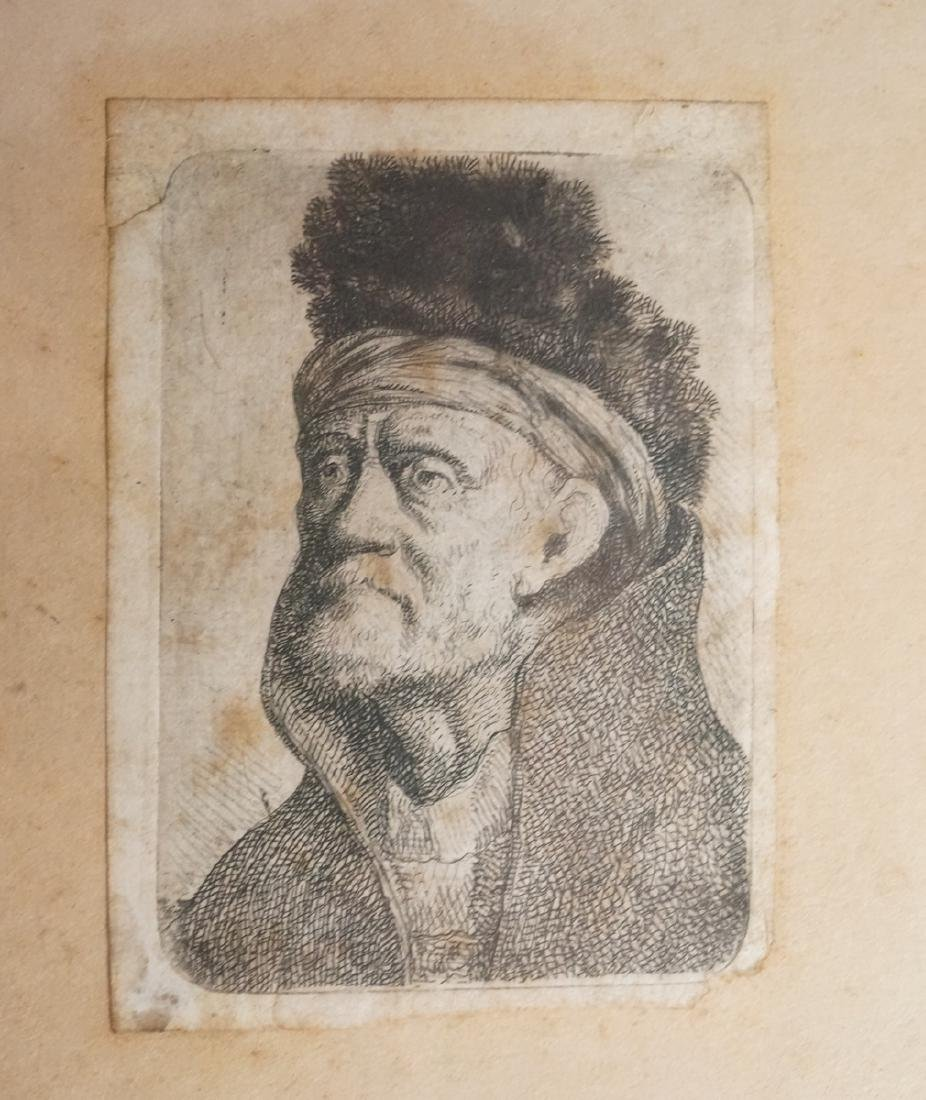 Small Antique Old Master Etching of Portrait of B