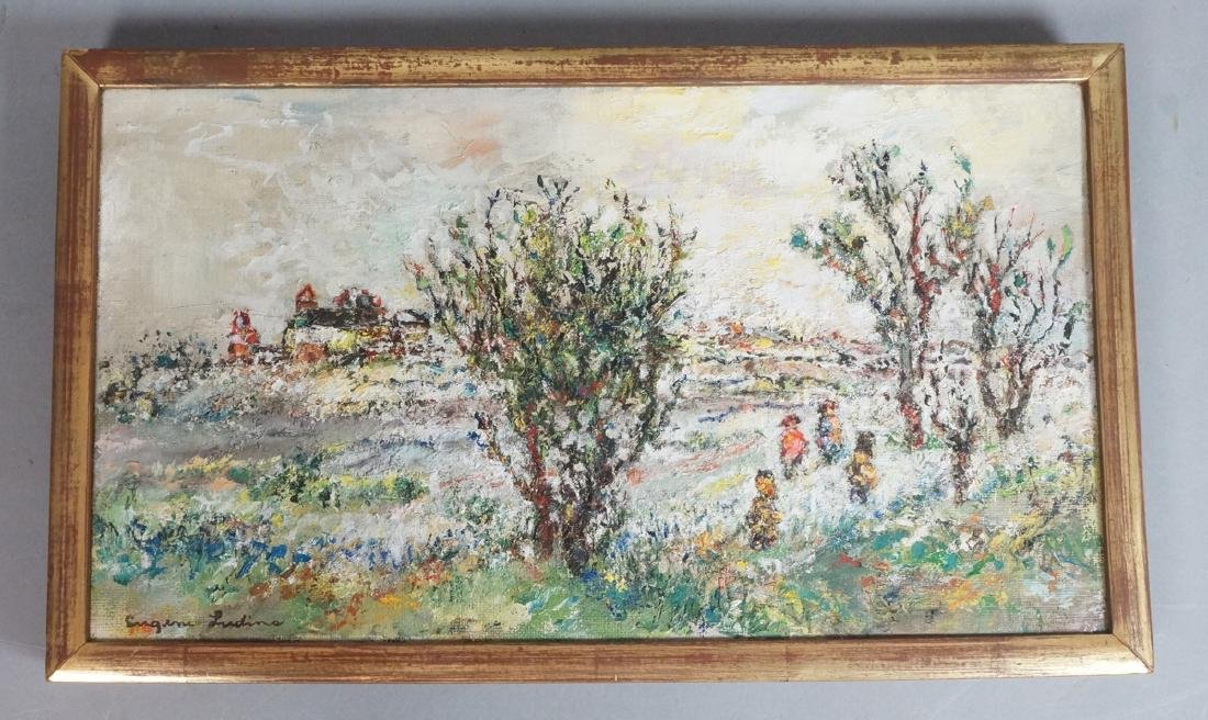 EUGENE LUDINS Modernist Landscape Oil Painting. A